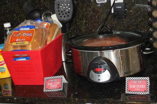 Hot Dogs as Gear Sticks for Race Car Birthday Party