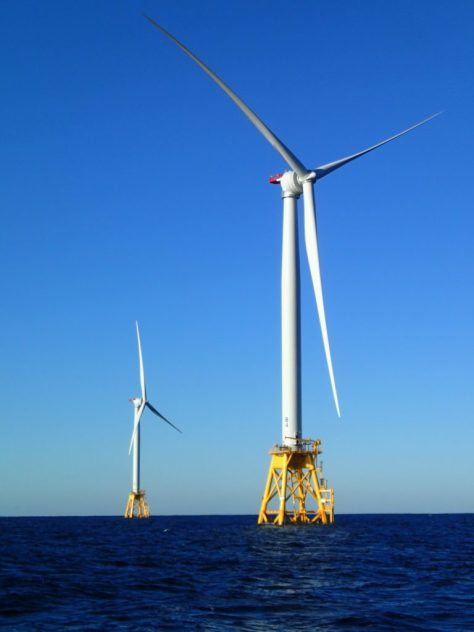 Two Wind Turbine Generators that form part of the Deepwater Wind Block Island Wind Farm array.