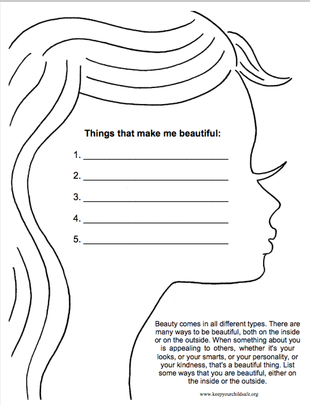 Things That Make You Beautiful Worksheet Inspire Girls