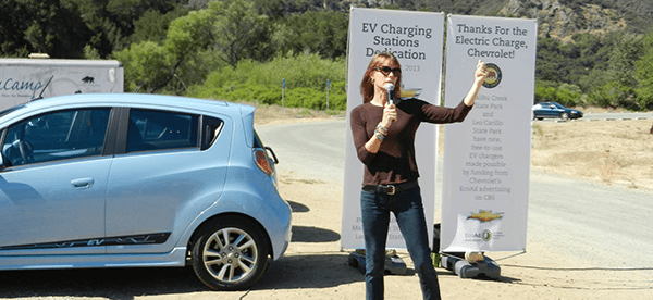 Alexandra speaking at the induction of new electric car chargers at Malibu Creek State Park, 2013.