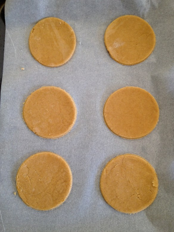 Hamantaschen dough rolled out and cut into circles