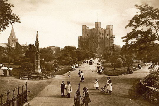 general view of children playing in gardens valentines x l series rochester castle kent medway rochester Nigel Temple Posctcard Collection