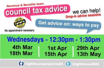 RMBC Council Tax help drop-in poster Mar - May header img v1