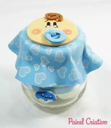 Como fazer Lembrancinha com pote de papinha para Chá de Bebê