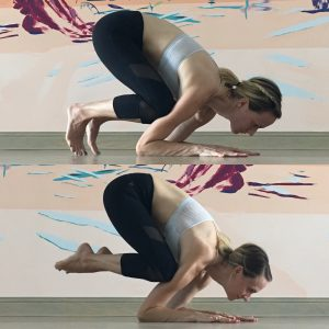 Take an inhale and begin to lean forward shifting into that dolphin push-up position. As you exhale, engage your core and mula bandha and draw the heels in toward the hips, pointing the toes.