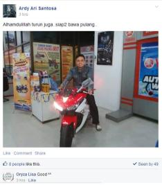 Bro Ardy Ardi Santosa dari Solo motor impiannya akhirnya tiba