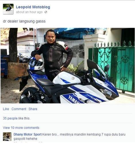 Bro Leopold Motoblog dari Serpong, perihal motor baru R25 nya ditulis di blog pribadinya