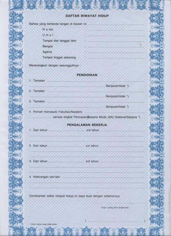Contoh CV lamaran kerja (Curriculum Vitae) / Daftar Riwayat Hidup untuk melamar pekerjaan
