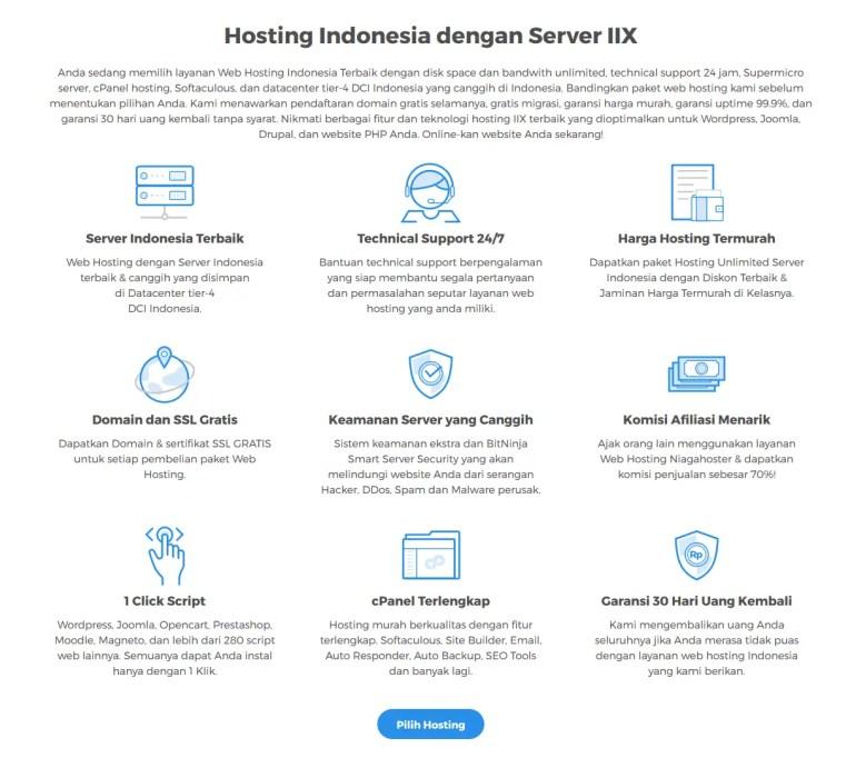 Niagahoster web hosting Indonesia terbaik dengan segudang keunggulan