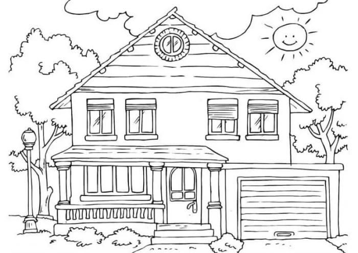 gambar mewarnai rumah bertingkat 2