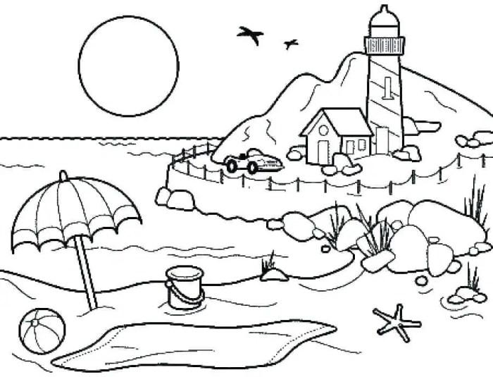 Gambar Mewarnai Pemandangan Pantai Gambar Hq
