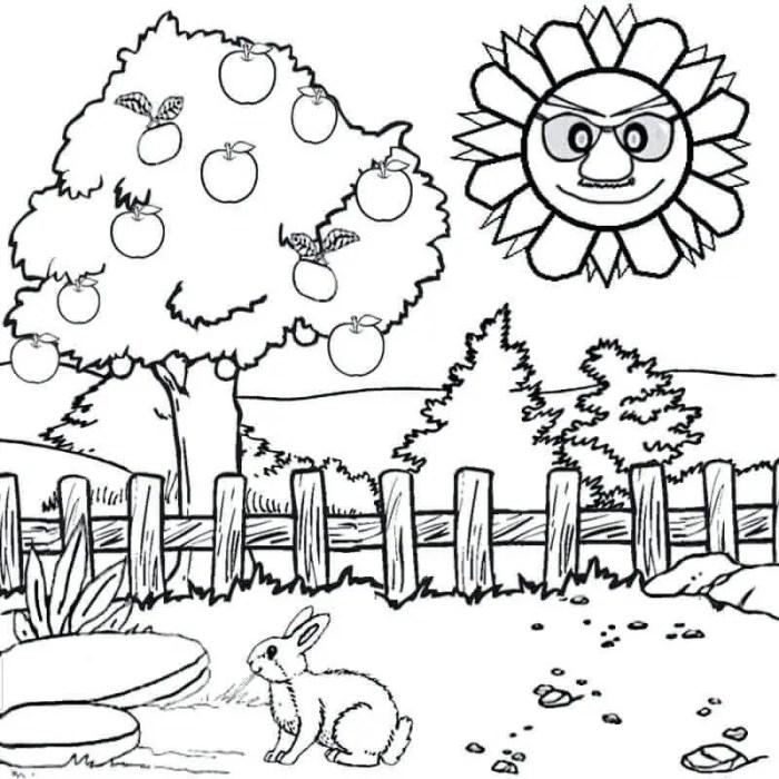 gambar mewarnai pemandangan pohon dan rumput matahari