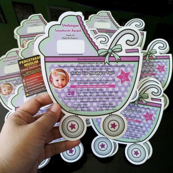 contoh undangan aqiqah lucu bentuk keranjang bayi