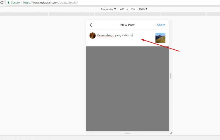 cara upload foto di instagram tanpa software