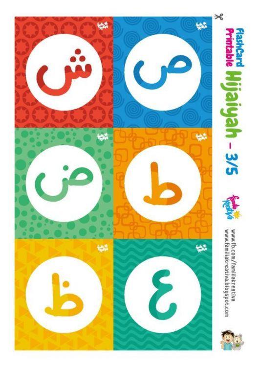 Huruf Hiyaiyah Satu Persatu Berwarna Flashcard Hijaiyah Familia Kreativa -