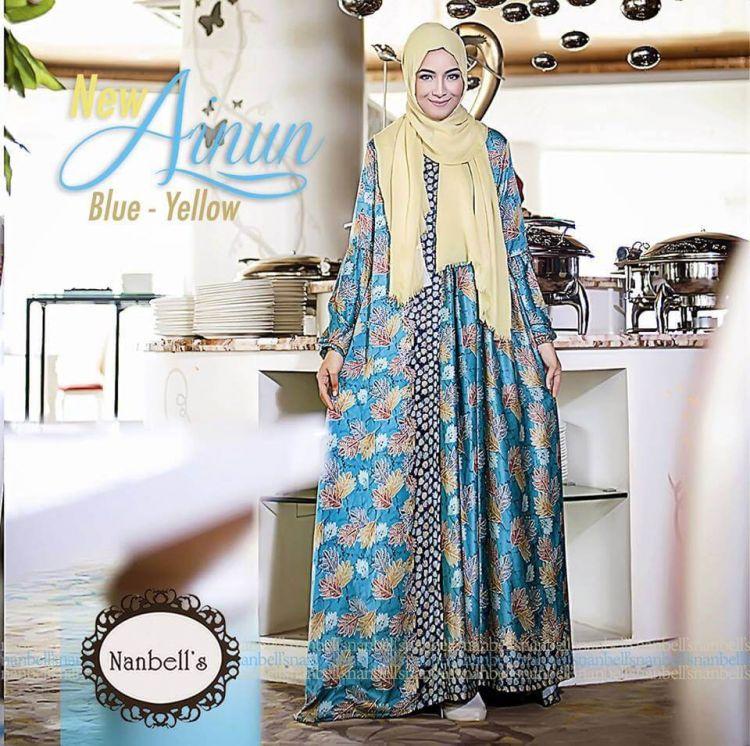Gamis Batik Kombinasi Kain Polos Model Terbaru 2017 Dress Brokat