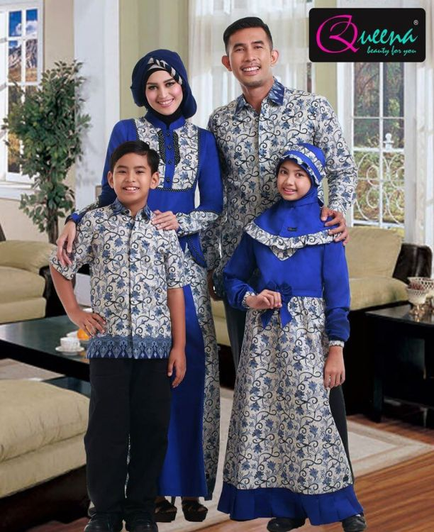 Model-gamis-batik-sarimbit-elegan-hari-raya