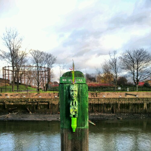 This wooden sculpture can be found on the banks of the River Lee by Bow Lock