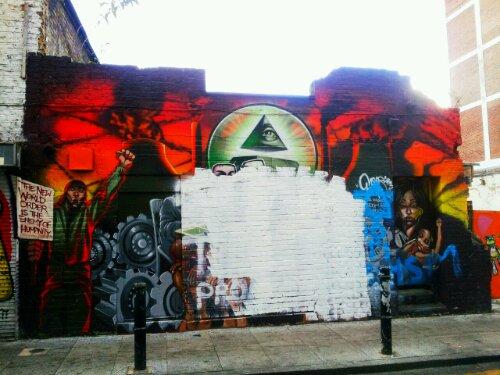 Artwork by Mear One whitewashed on Hanbury Street
