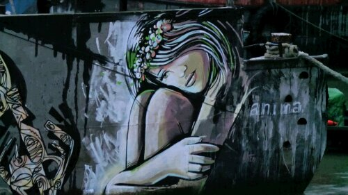 Italian artist Alice Pasquini made a brief visit to the UK and painted this whimsical girl