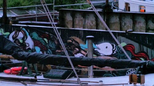 Brazil's Mateus Bailon chose to decorate his section of the barge with fish.