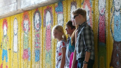 Kids loved the Stik wall and were queing up to have their pictures taken by the wall