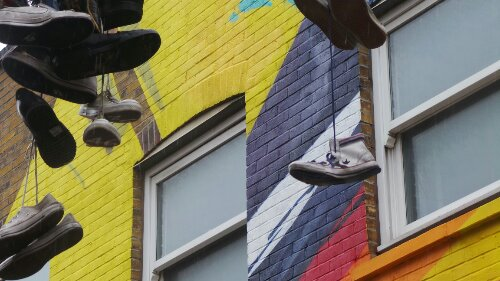 Anyone who knows Chance Street will recognise the random shoes that hang on the telephone wires above