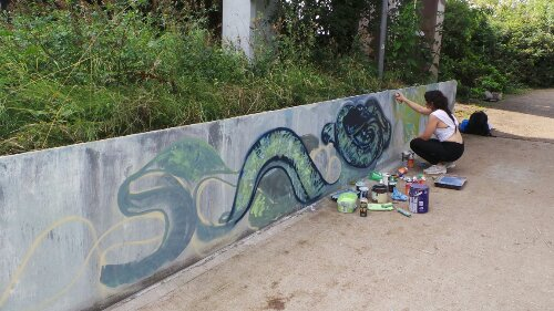 The majority of the artists were all at the other side of the underpass.