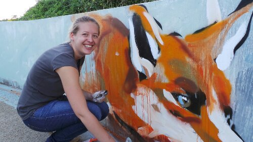 Hannah Adamaszek created some beautiful foxes along her section of the wall