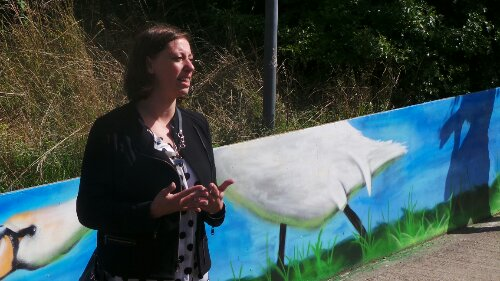 Cllr Clare Coghill gave a speech about the mural and was intrumental in drumming up local support