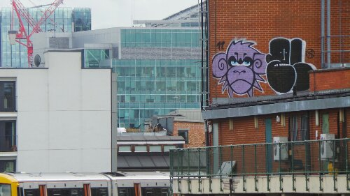 The view from the Hoxton railway station just over the road from the Hoxton Arches and featuring a quality Mighty Mo monkey