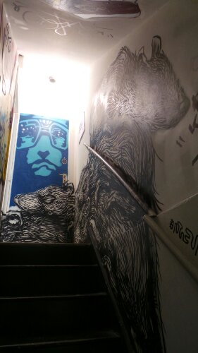 In the Brick Lane gallery, there is a ROA on the stairs leading into the basement