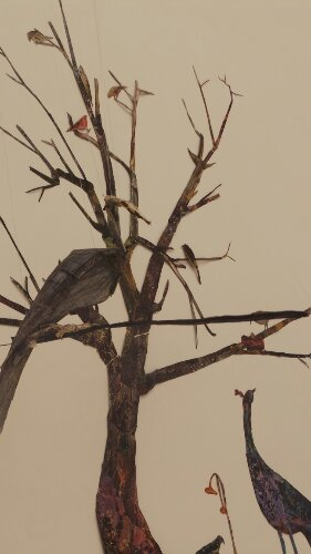 Tom Thayer's 'Nature Scene' shows a tree and birds created from bits of scrap paper