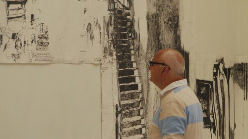 This man admires an epic work from Dawn Clements