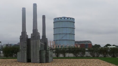 A model of Battersea Power Station on the way out towards Vauxhall