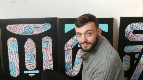 Kef by his latest series of canvases
