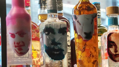 Some of Yvonne's bottles in close up