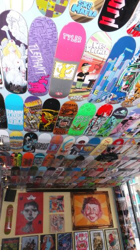 The ceiling's are full of skateboards from the likes of 'Alien Workshop' and 'Consolidated'