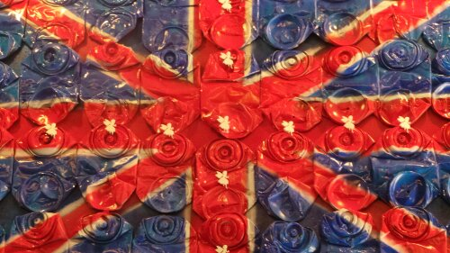 A patriotic piece from Ben Oakley who likes to use recycled materials in his art