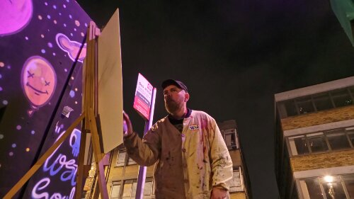 Live painting outside the Far Rockaway