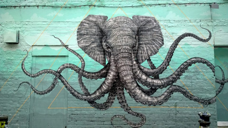 The fantastic Alexis Diaz 'Octopus Elephant' piece on Hanbury Street