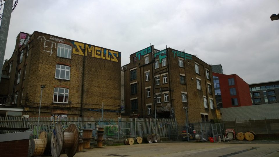 Buildings with some high level graffiti now full of artist studios and our destination