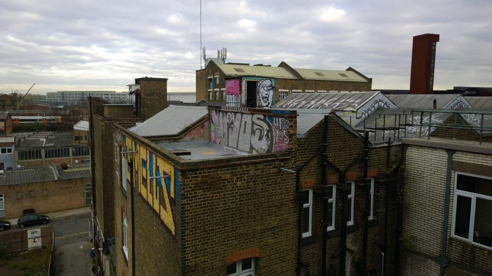 View from the roof looking over the buildings of Hackney Wick