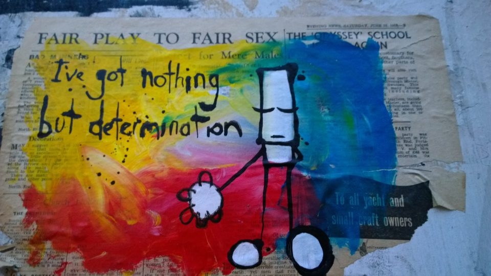 """I've got nothing but determination"" Hug on Redchurch Street"