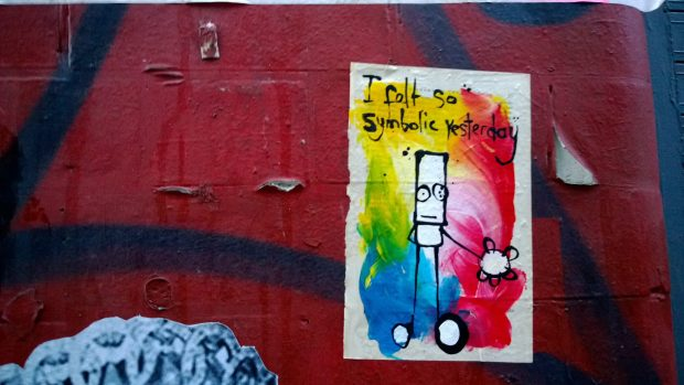 """I felt so symbolic yesterday"" Hug on Grimsby Street"
