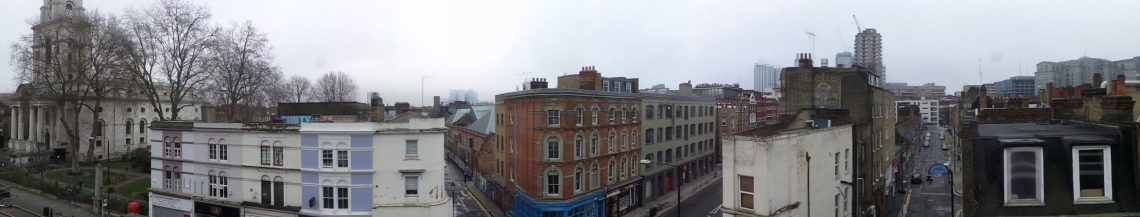The view looking out onto Commercial Street from the top of the White's Row car park.  Much of this area was full of slums in 1888 and was a notoriously bad area