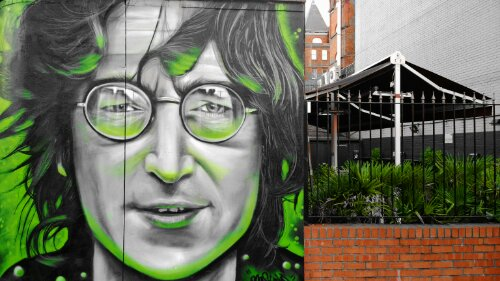 Gnasher Murals incredible John Lennon portrait on the side of the Oxford Arms on Camden High Street