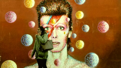 A superb David Bowie mural by Jimmy C is just over the road from Brixton Station