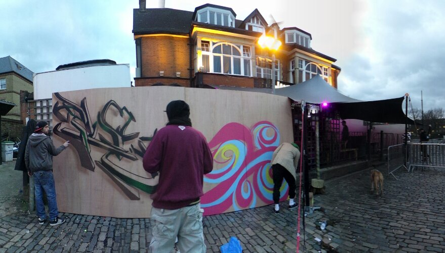 The ill-fated graffiti jam before the weather had other ideas at the 'Brixton Jamm'