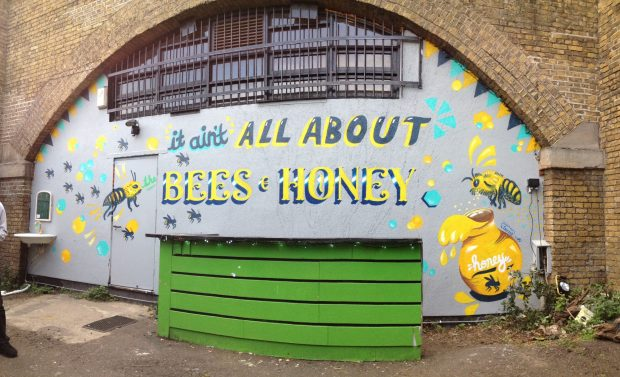 It's all about the bees and honey, great example of signwriting on this large piece.  Photo thanks to Lana